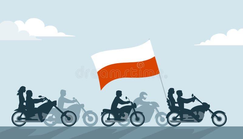 Polscy rowerzyści na motocyklach z flaga państowowa royalty ilustracja