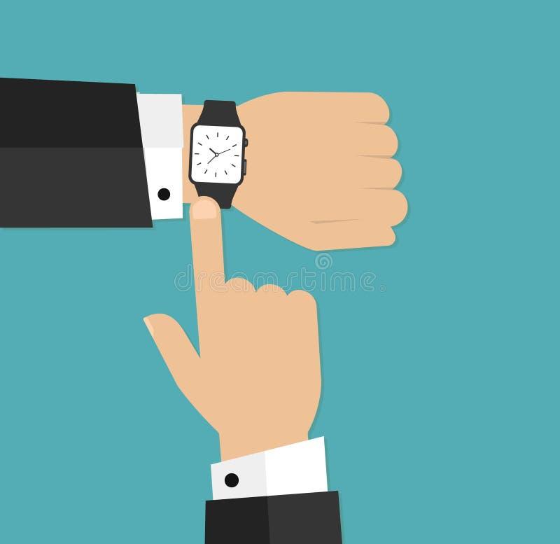 Polshorloge op de hand van zakenman in kostuum Tijd op polshorloge De mens met klok controleert de tijd Hand met klok op bedelaar vector illustratie