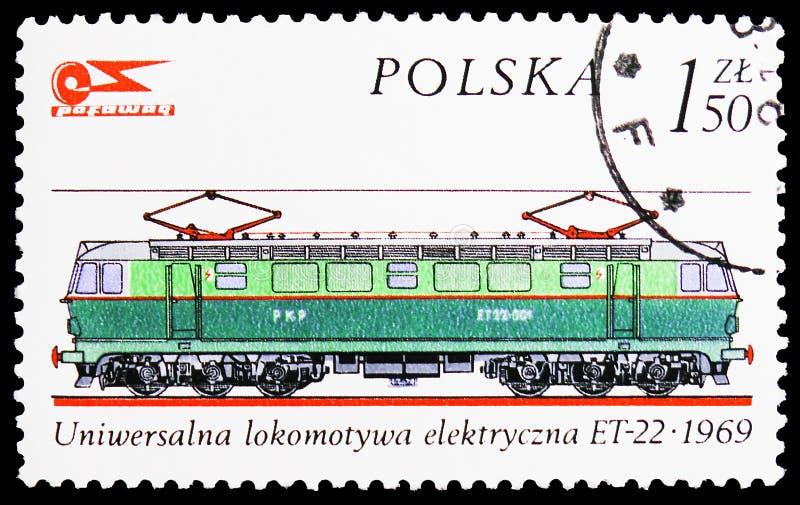 Polsk elektrisk lokomotiv, 1969, historia av den rörliga serien, circa 1976 royaltyfri bild