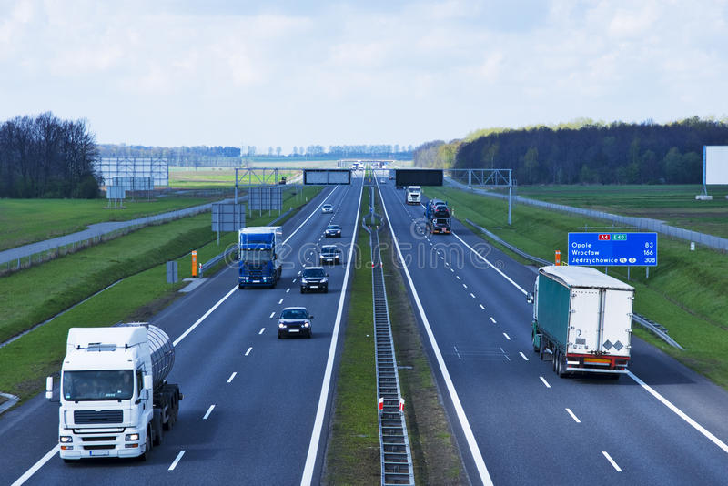 Polsk motorway A4 nära Gliwice royaltyfria foton