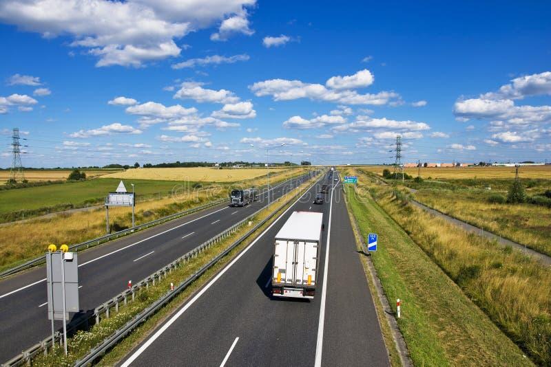 Polsk motorway A4 nära Gliwice arkivfoton