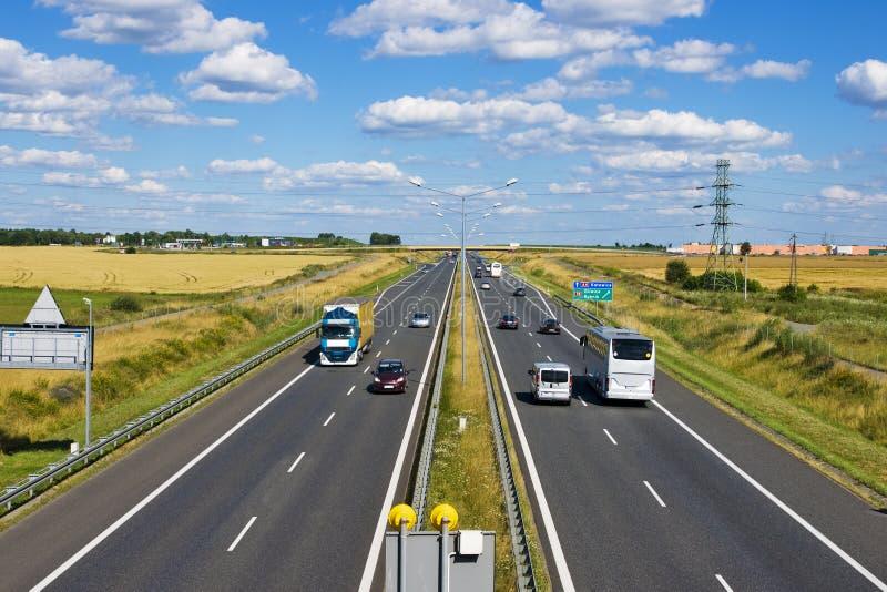 Polsk motorway A4 nära Gliwice fotografering för bildbyråer