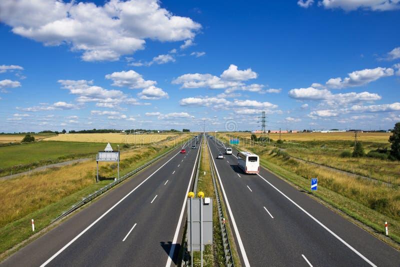 Polsk motorway A4 nära Gliwice arkivbilder