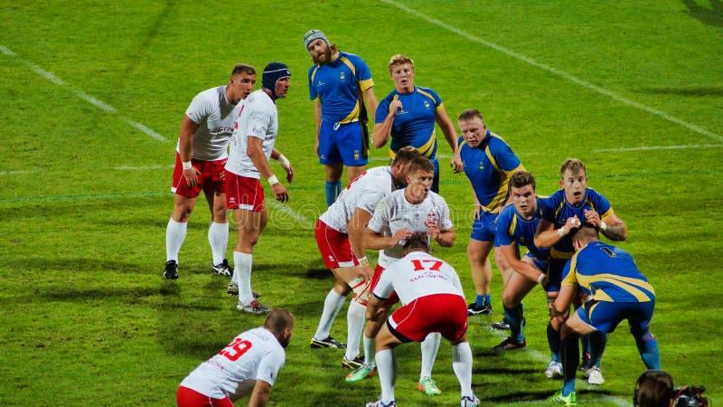 Polsk rugbyframställning under match med Sverige arkivfoton