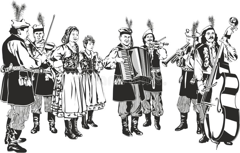 Polsk traditionell Folkmusikband vektor illustrationer