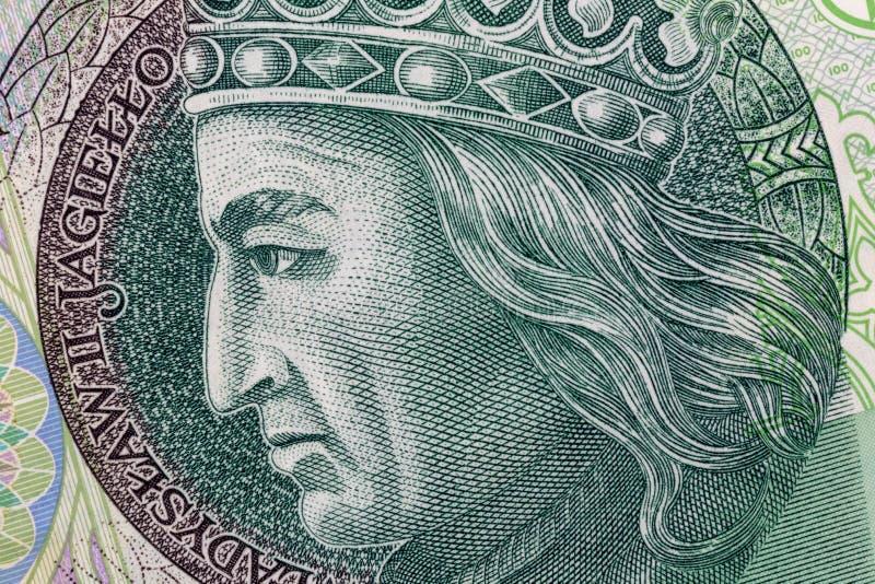 Polsk valutapengarräkning hundra zloty Makroskördstående av konungen av Polen Wladyslaw II Jagiello extra bakgrundsaffärsformat arkivbild