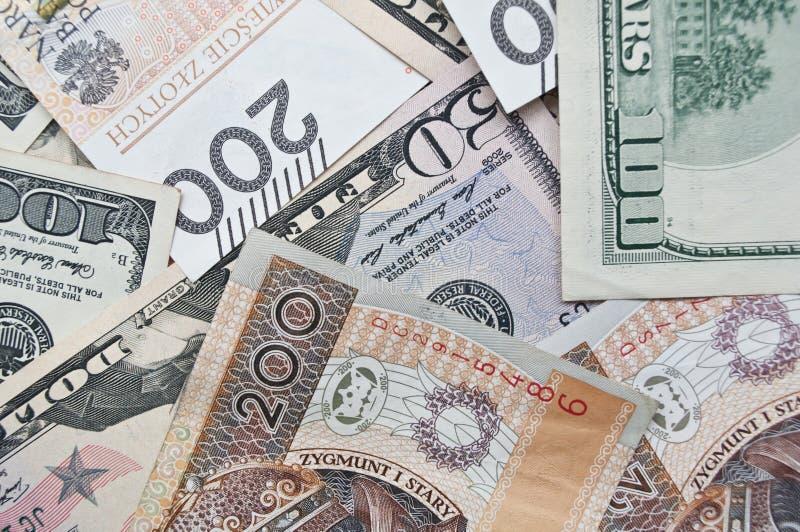 Polsk zloty och dollar, kassa royaltyfri bild