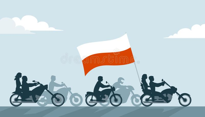Polska cyklister på motorcyklar med nationsflaggan royaltyfri illustrationer