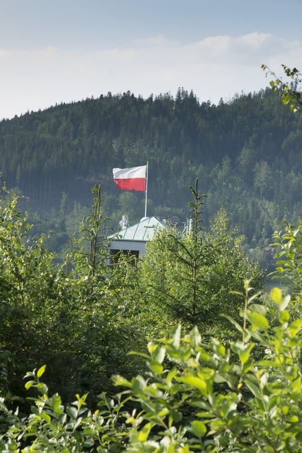 Polska czerwona flaga nad wierza narciarskiego doskakiwania wzgórze i biel obrazy stock