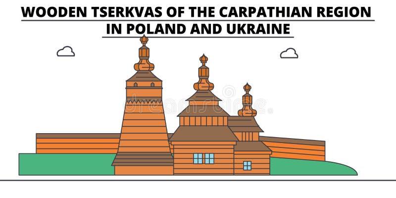 Polska, Drewniani kościół W Karpackim terenie górskim, podróży linia horyzontu wektoru ilustracja royalty ilustracja