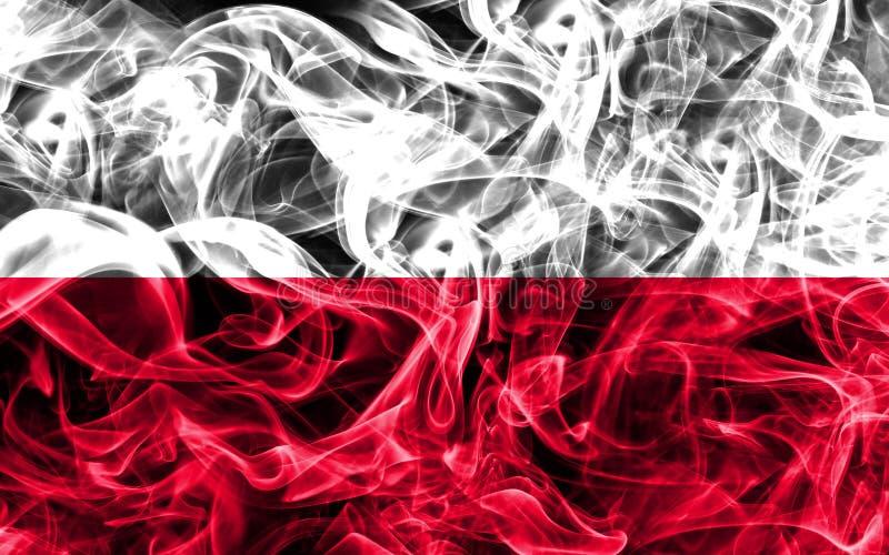 Polska dymu flaga na czarnym tle fotografia stock