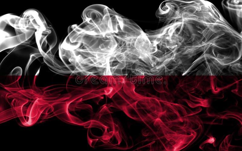 Polska dymu flaga na czarnym tle zdjęcie stock