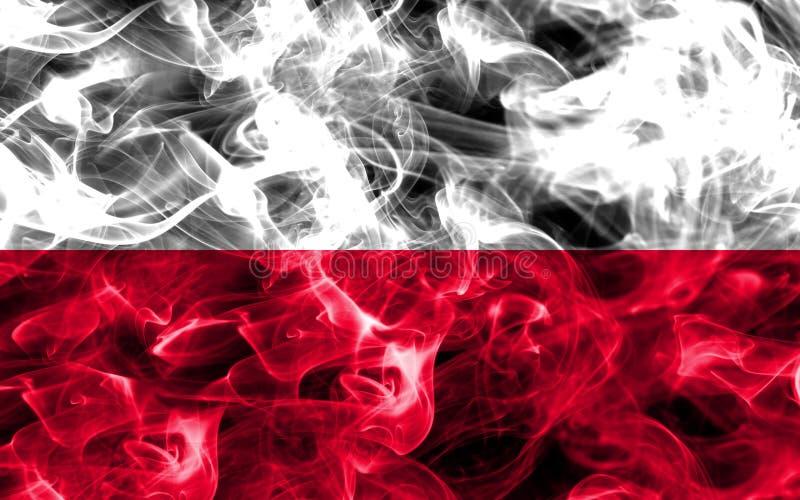 Polska dymu flaga odizolowywająca na czarnym tle obrazy royalty free