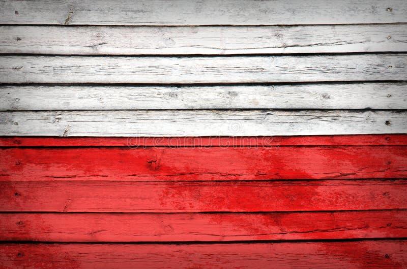 Polska flaga malująca na drewnianych deskach obrazy stock