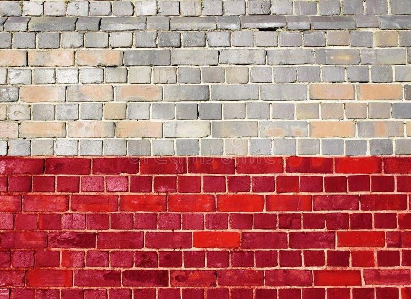 Polska flaga na ściana z cegieł fotografia royalty free