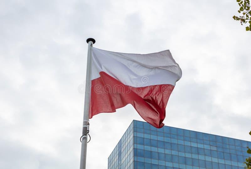 Polska flaga na słupa falowaniu, nowożytny budynku biurowego tło obraz stock
