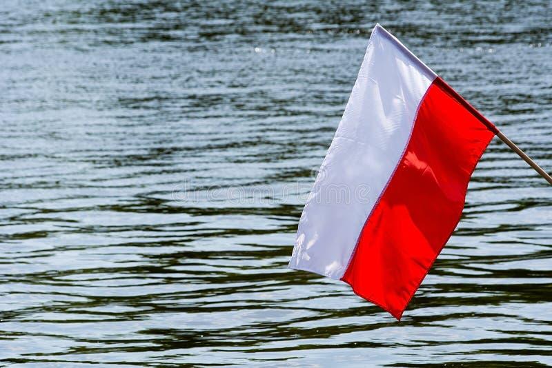Polska flaga na wodnym tle fotografia royalty free