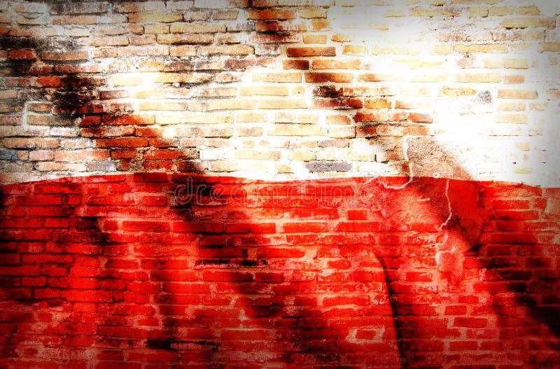 Polska flaga państowowa na ściana z cegieł fotografia stock