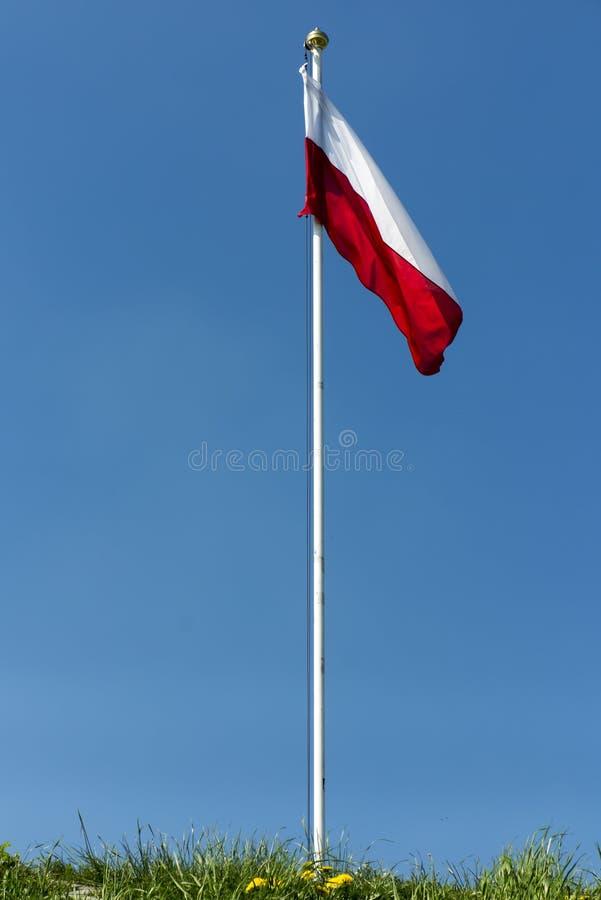 Polska flaga państowowa przy szczytem wyzwolenie kopiec zdjęcia stock