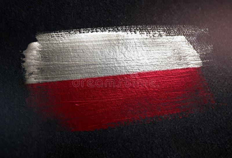 Polska flaga Robić Kruszcowa Szczotkarska farba na Grunge zmroku ścianie fotografia royalty free