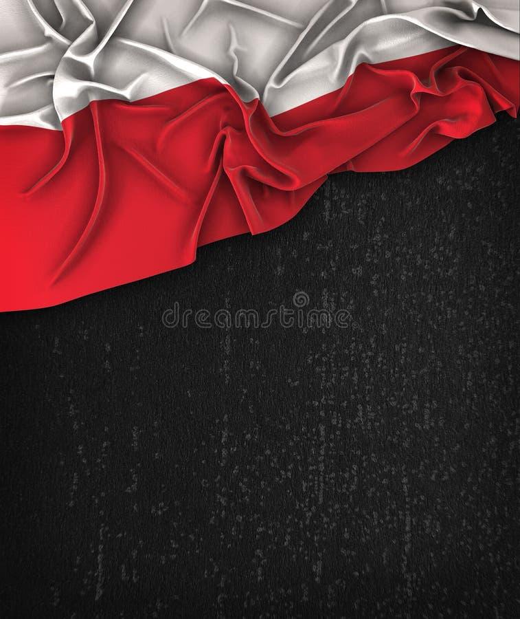 Polska flaga rocznik na Grunge czerni Chalkboard fotografia stock
