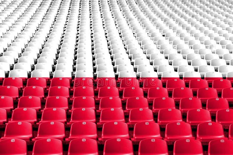 Polska flaga stadium siedzenia Sport rywalizaci pojęcie fotografia stock