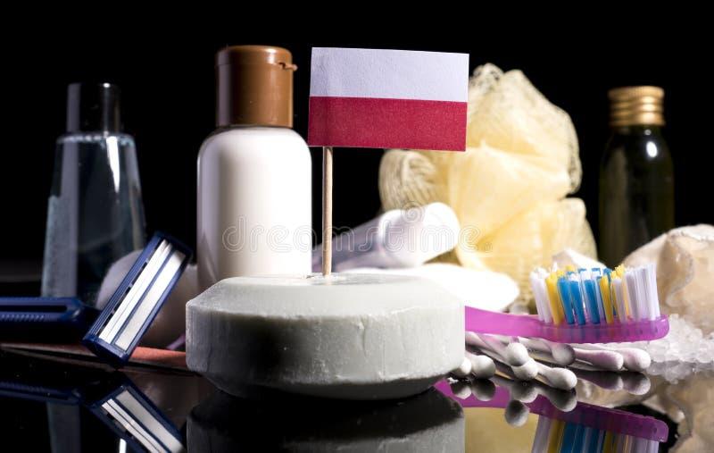 Polska flaga w mydle z wszystkie produktami dla ludzi hyg fotografia royalty free