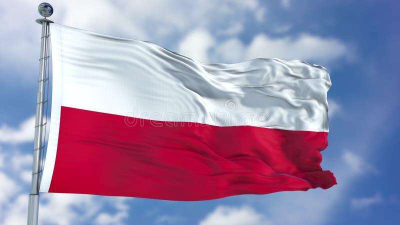 Polska flaga w niebieskim niebie obrazy royalty free