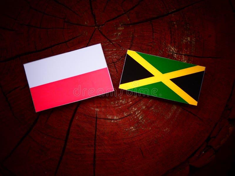 Polska flaga z Jamajską flaga na drzewnym fiszorku obrazy royalty free