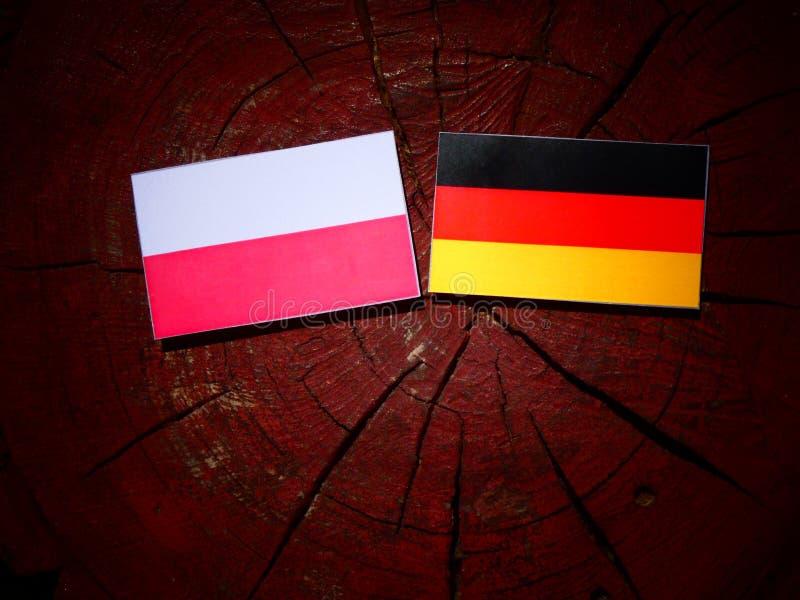 Polska flaga z niemiec flaga na drzewnym fiszorku fotografia stock