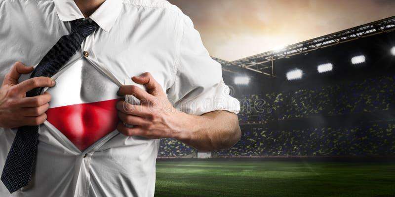 Polska futbolu lub piłki nożnej zwolennika seansu flaga obrazy stock