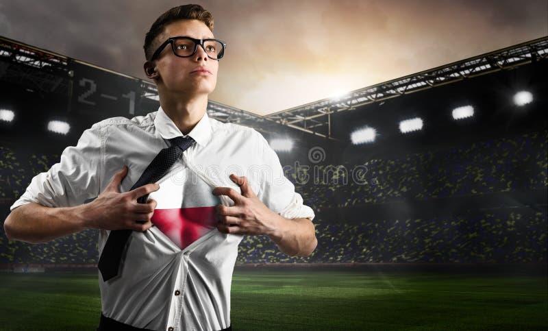 Polska futbolu lub piłki nożnej zwolennika seansu flaga zdjęcia royalty free