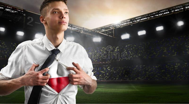 Polska futbolu lub piłki nożnej zwolennika seansu flaga fotografia royalty free