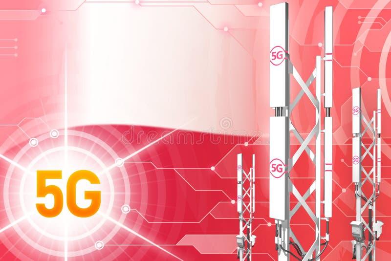 Polska 5G przemysłowa ilustracja, duży komórkowy sieć maszt lub wierza na nowożytnym tle z flagą, - 3D ilustracja royalty ilustracja