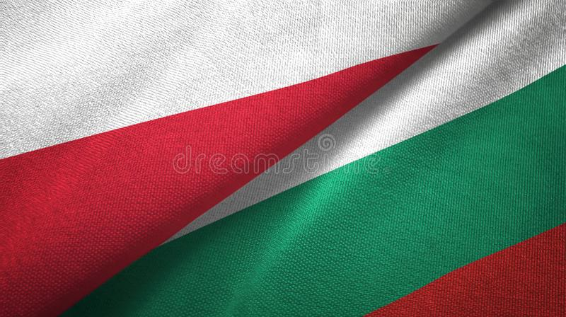 Polska i Bułgaria dwa flagi tekstylny płótno, tkaniny tekstura royalty ilustracja