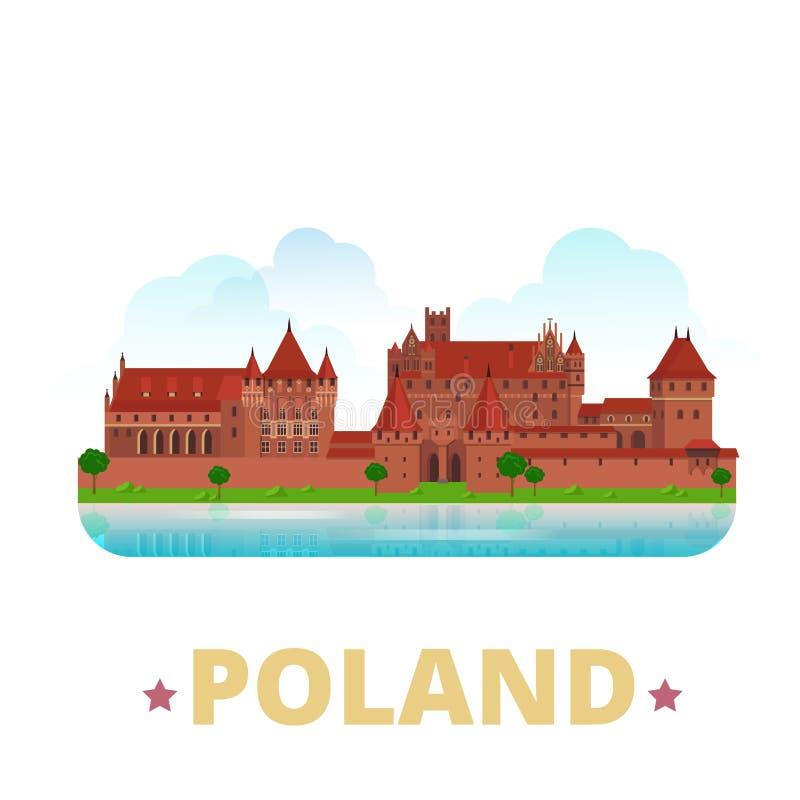 Polska kraju projekta szablonu kreskówki Płaski styl ilustracja wektor