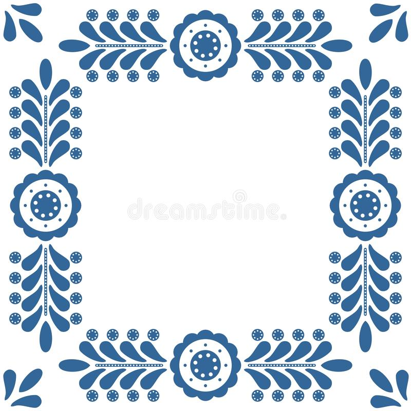 Polska ludowa wektor rama odizolowywająca na białym tle z błękitnym kwiecistym ornamentem ilustracji