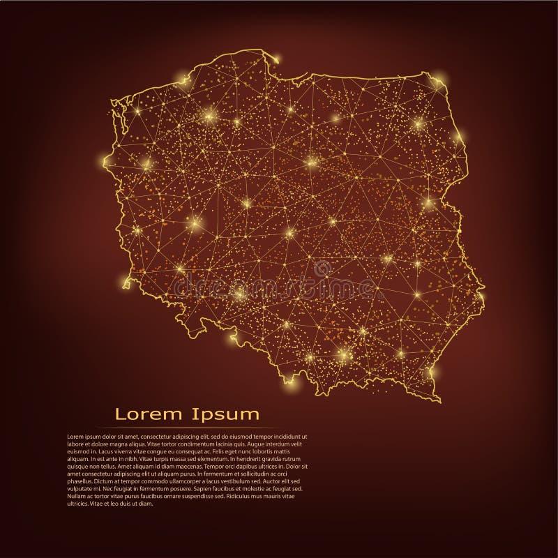 Polska mapa Abstrakcjonistyczne breja punktu i linii skale na ciemnym geometrycznym tle Drucianej ramy 3D siatki sieci poligonaln royalty ilustracja