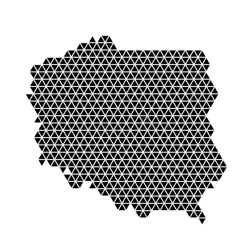 Polska mapy abstrakcjonistyczny schematyczny od czarnych trójboków wielostrzałowego deseniowego geometrycznego tła z guzkami r?wn ilustracji