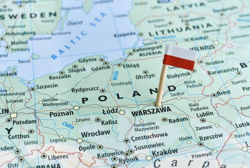 Polska mapy flaga szpilka fotografia royalty free