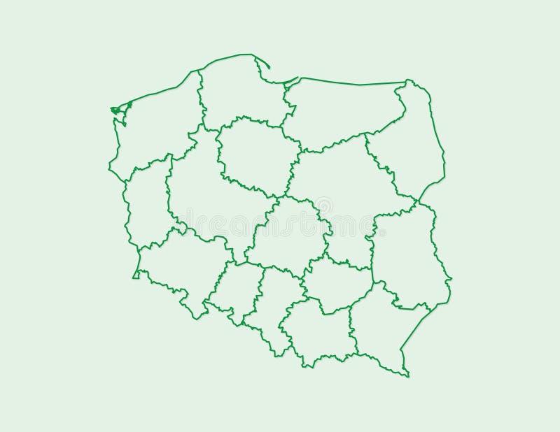 Polska mapy wektor z zieloną rabatową linią podziały na lekkim tle ilustracja wektor