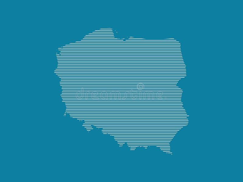 Polska mapy wektorowa ilustracja używać proste linie proste biały kolor na zmroku - błękitny tło royalty ilustracja