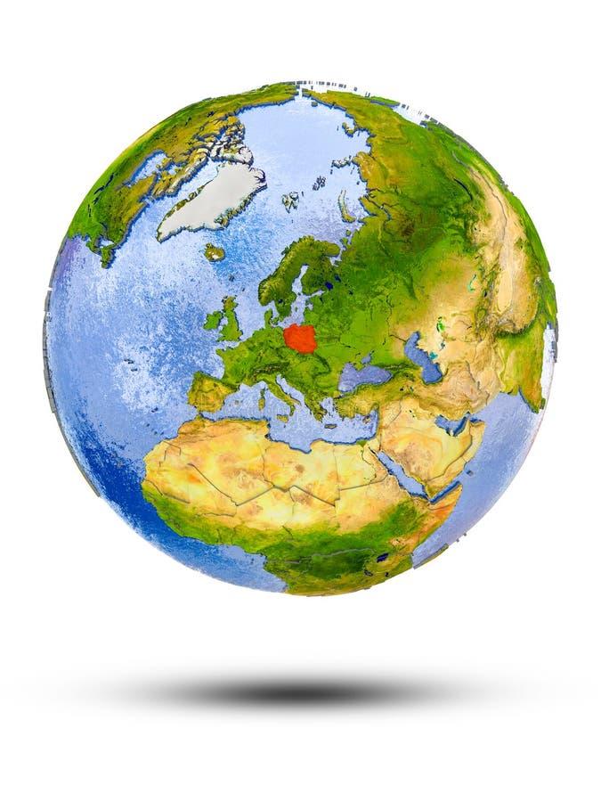 Polska na kuli ziemskiej ilustracji