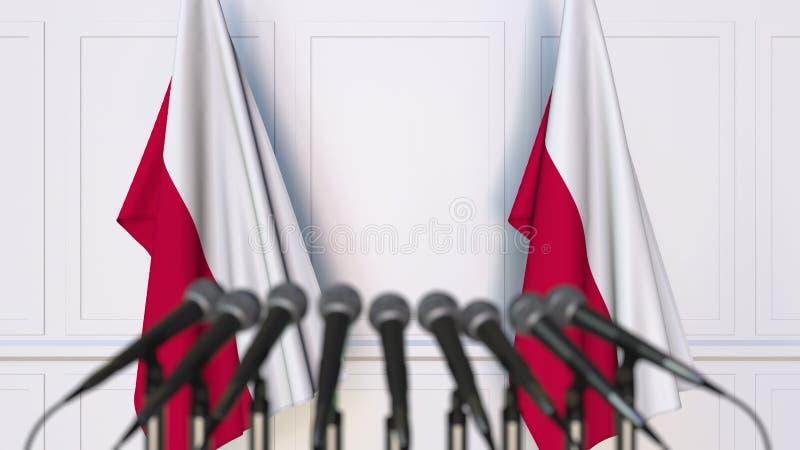 Polska oficjalna konferencja prasowa Flaga Polska i mikrofony konceptualny utylizacji 3 d obrazy royalty free