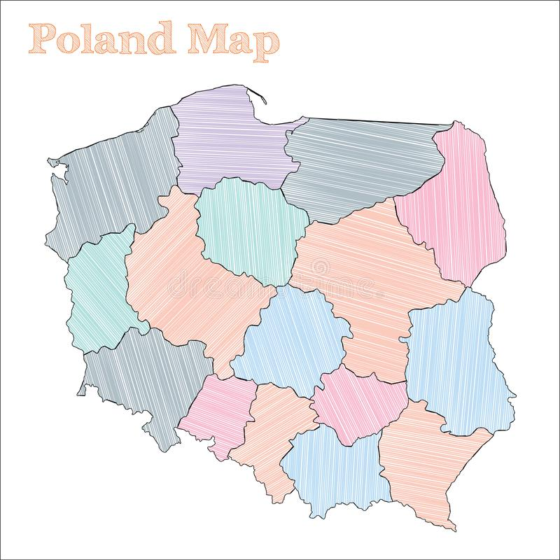 Polska pociągany ręcznie mapa ilustracja wektor