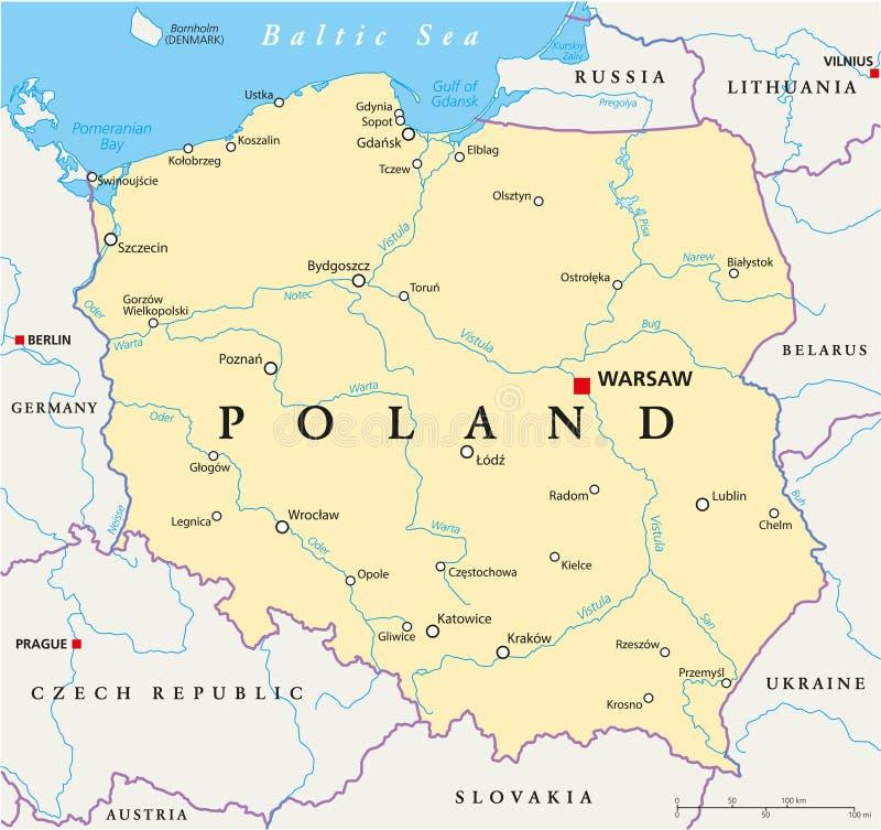 Polska polityczna mapa royalty ilustracja