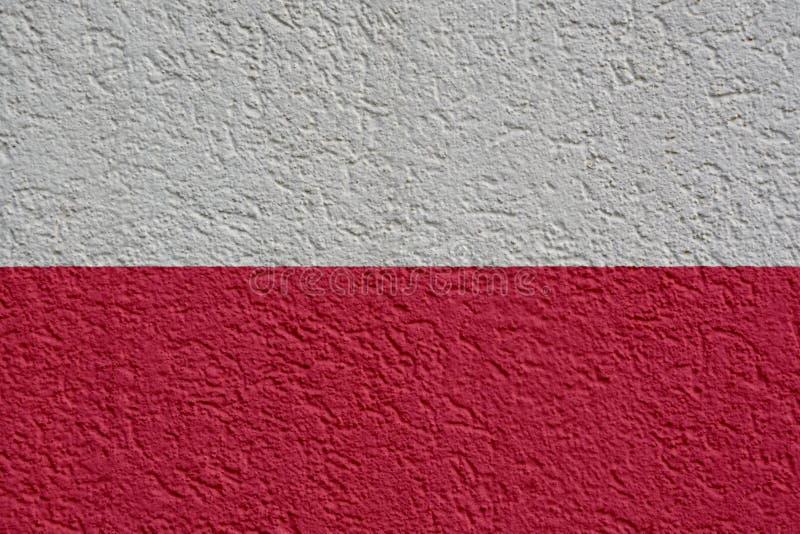 Polska polityka Lub biznesu pojęcie: Polska flagi ściana Z tynkiem, tekstura obraz stock