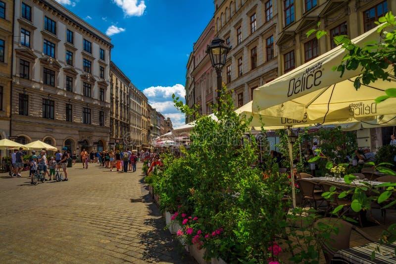 Polska - Restauracje na placu - Kraków obrazy stock