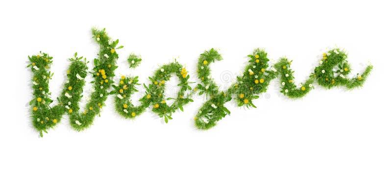 Polska słowa wiosny wiosna robić trawa i kwiaty odpłacają się, 3D royalty ilustracja