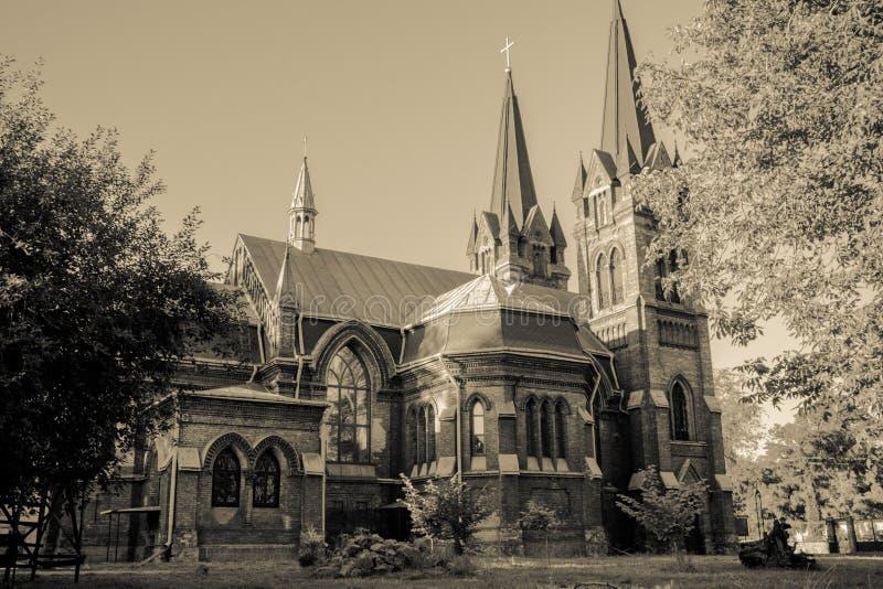 Polski kościół w Kamenskoe Ukraina obrazy royalty free